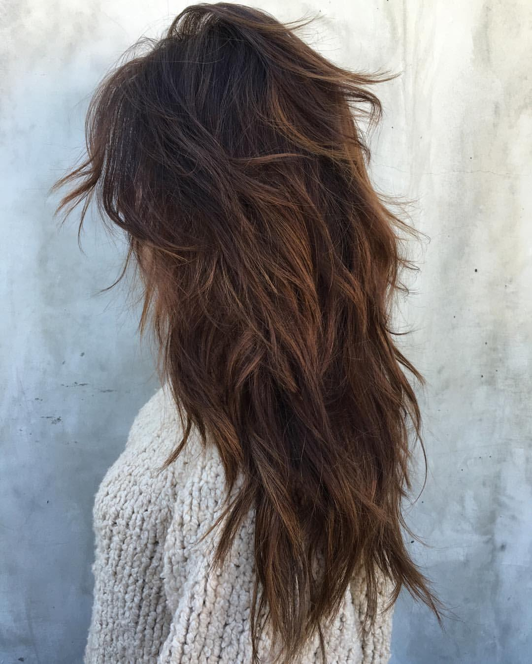 Long Feathered cut with layers
